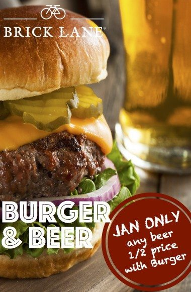 BRICK LANE Jan17 promo beer half price with burger