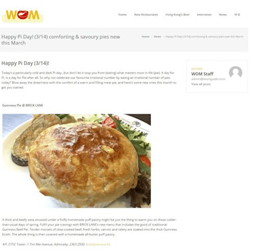 BRICK LANE's Guinness Pie pick of Pie Day by WOM Guide