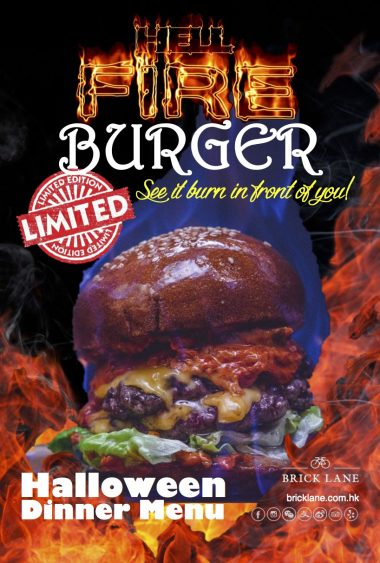 Hell Fire Flaming Burger for Halloween at BRICK LANE